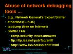 abuse of network debugging tools