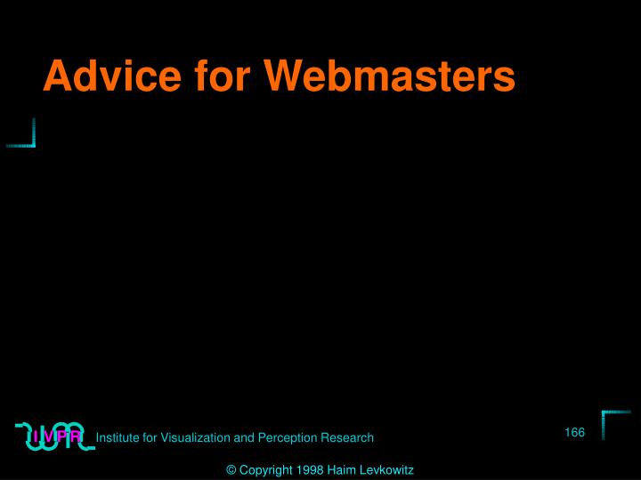 Advice for Webmasters