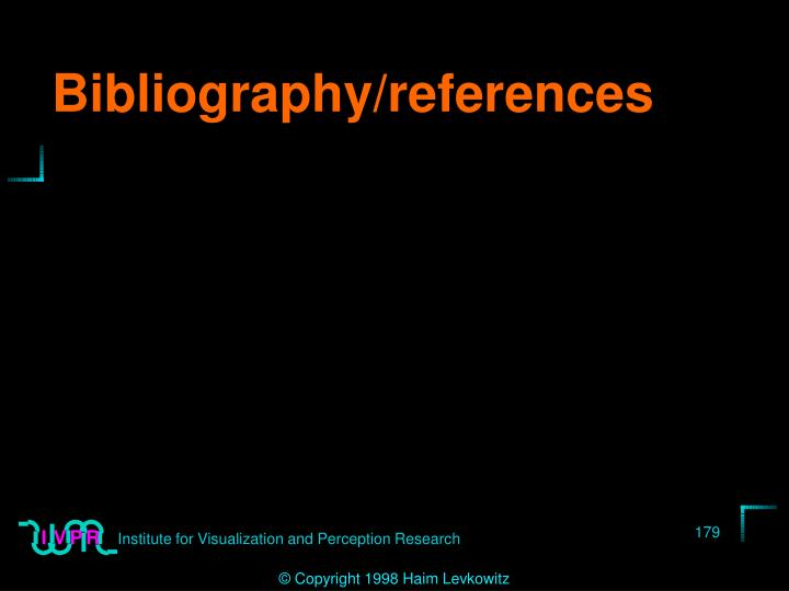 Bibliography/references