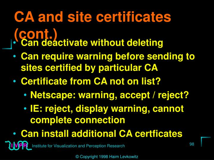 CA and site certificates (cont.)