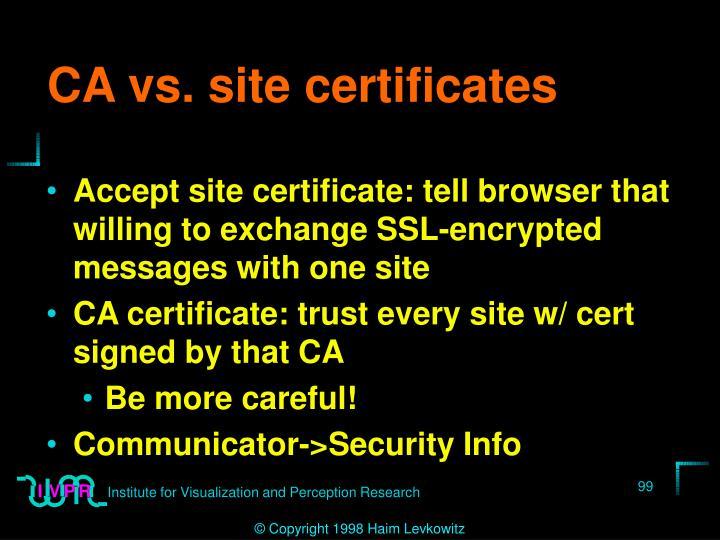 CA vs. site certificates