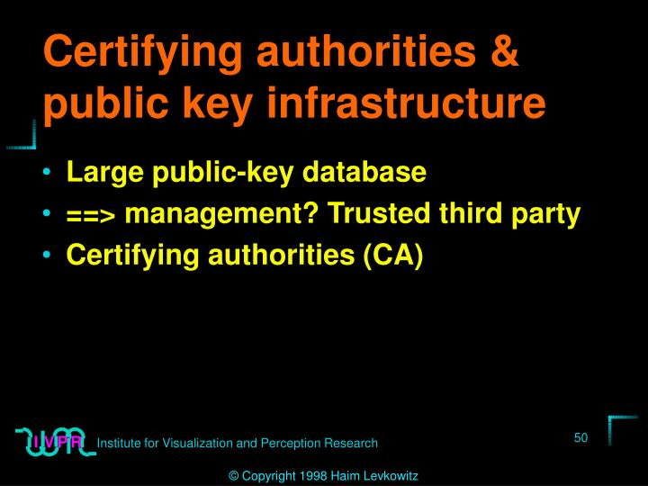 Certifying authorities & public key infrastructure
