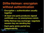 diffie helman encrypton without authentication