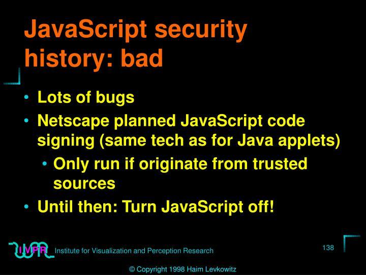 JavaScript security history: bad