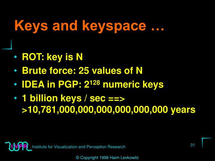 Keys and keyspace …