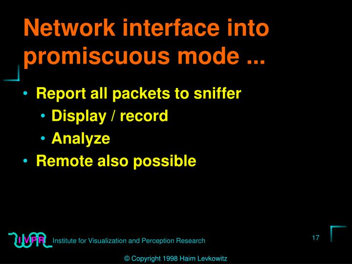 Network interface into promiscuous mode ...