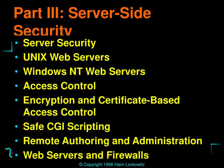 Part III: Server-Side Security