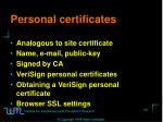 personal certificates