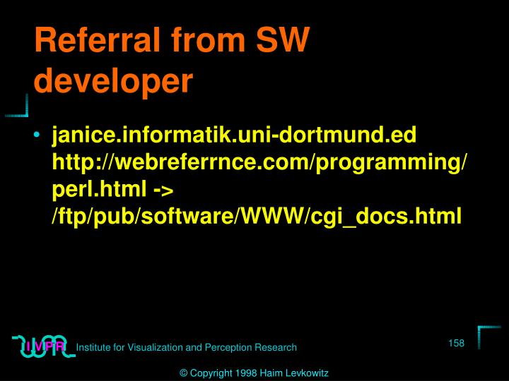 Referral from SW developer