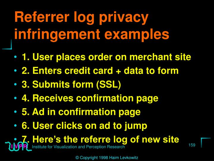 Referrer log privacy infringement examples