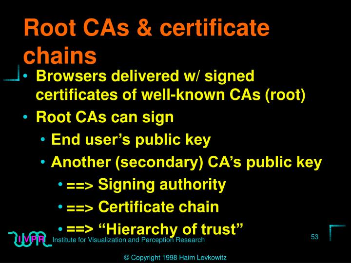 Root CAs & certificate chains