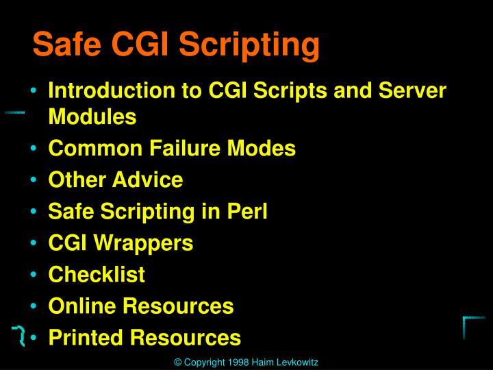 Safe CGI Scripting