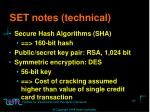 set notes technical