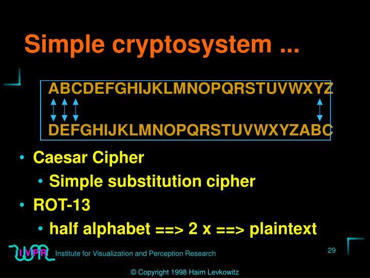 Simple cryptosystem ...