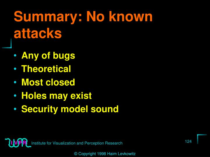 Summary: No known attacks