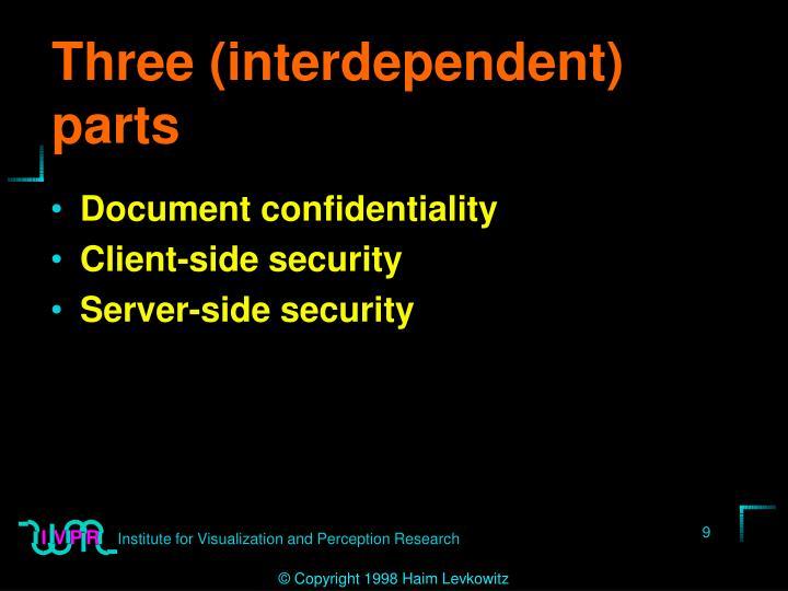 Three (interdependent) parts