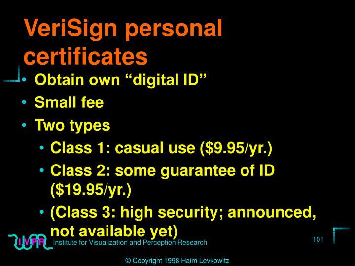 VeriSign personal certificates