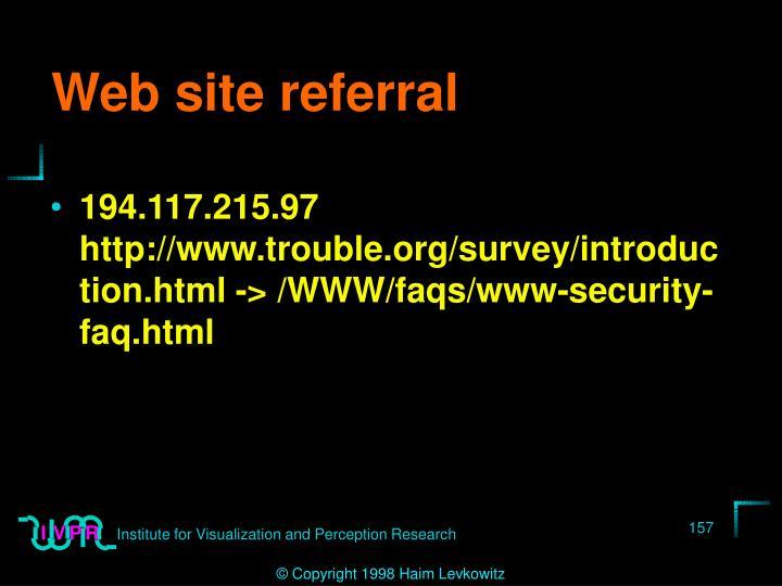 Web site referral