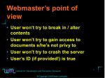 webmaster s point of view