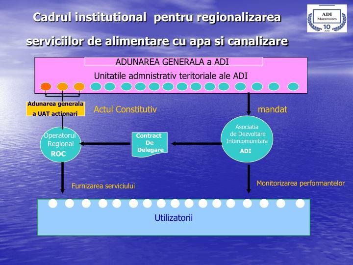 Cadrul institutional  pentru regionalizarea serviciilor de alimentare cu apa si canalizare
