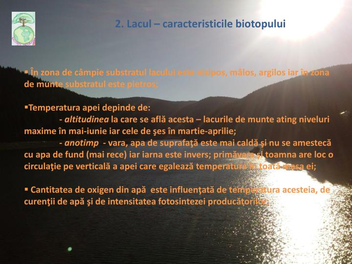 2. Lacul – caracteristic