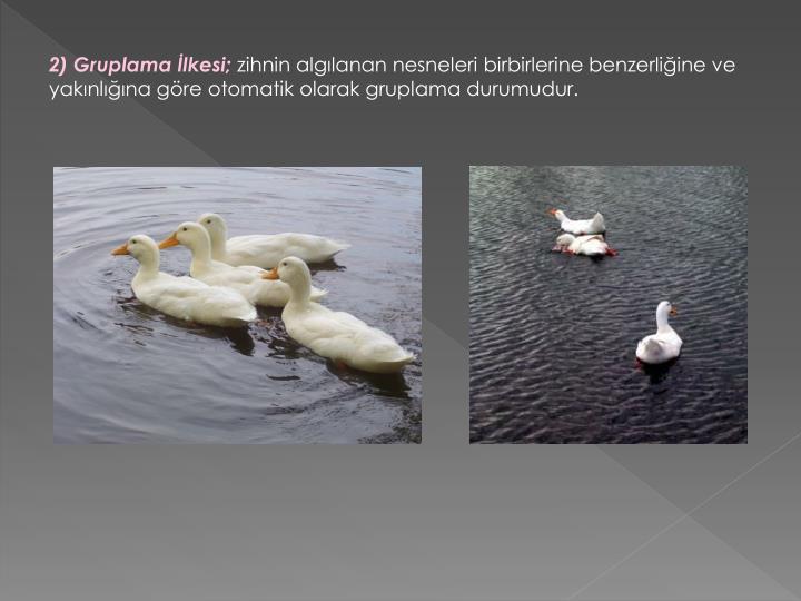 2) Gruplama İlkesi;