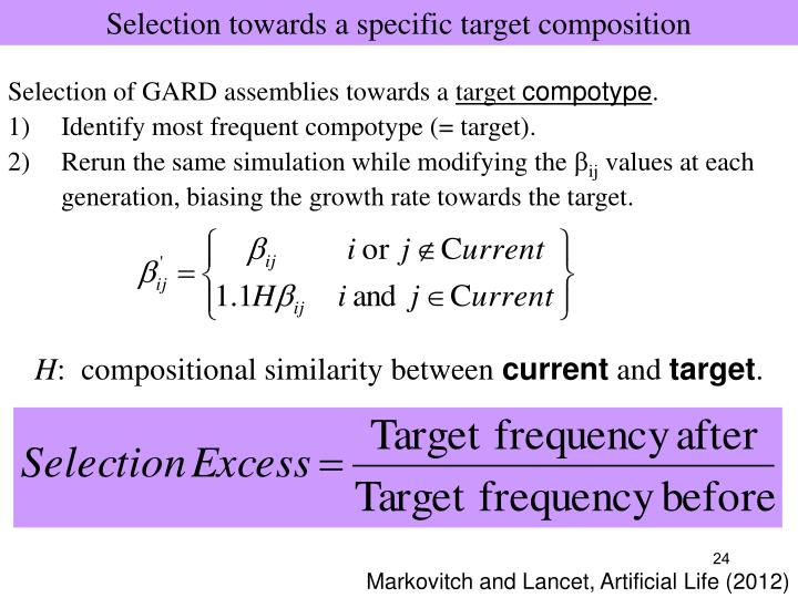 Selection towards a specific target composition