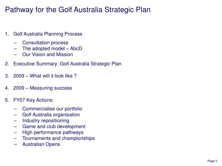 Pathway for the Golf Australia Strategic Plan