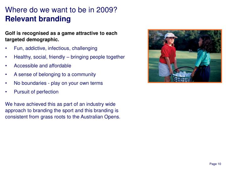 Golf is recognised as a game attractive to each targeted demographic.