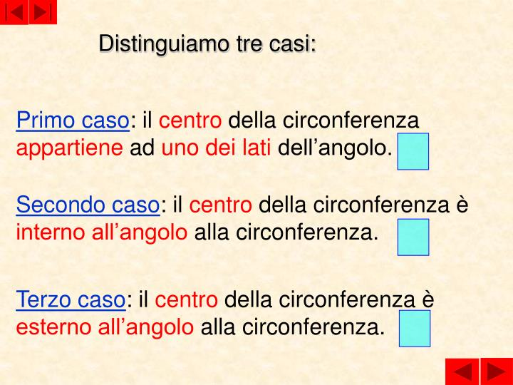 Distinguiamo tre casi: