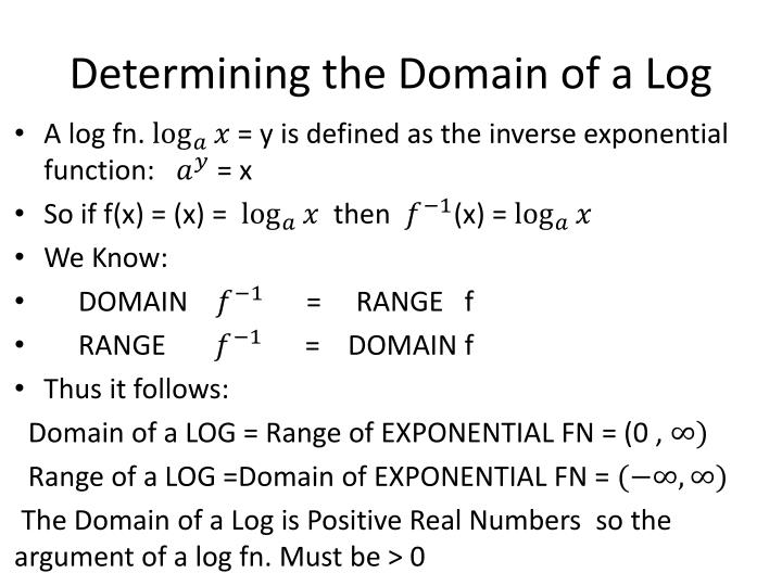 Determining the Domain of a Log