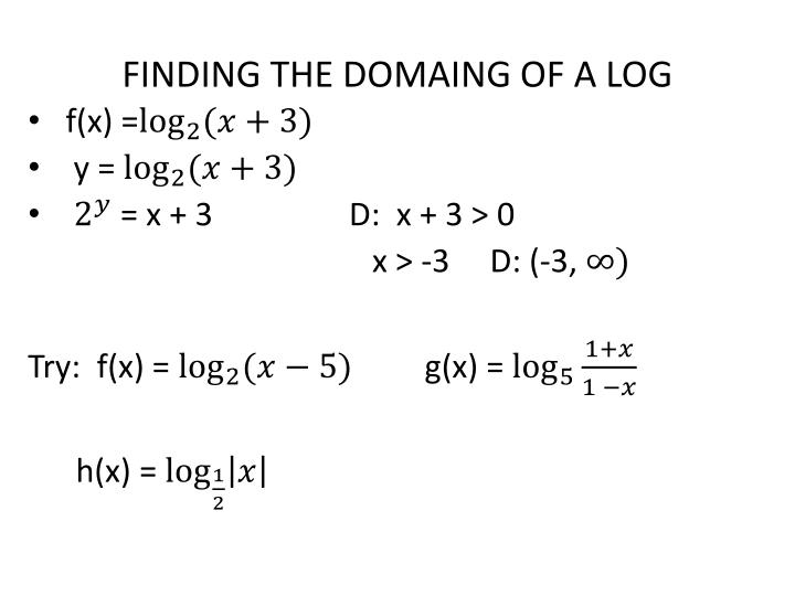 FINDING THE DOMAING OF A LOG