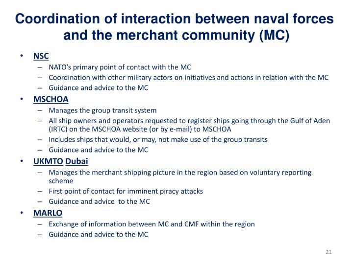 Coordination of interaction between naval forces