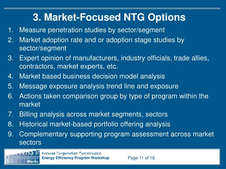 3. Market-Focused NTG Options