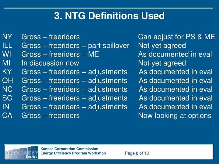 3. NTG Definitions Used