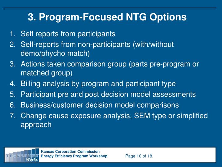 3. Program-Focused NTG Options