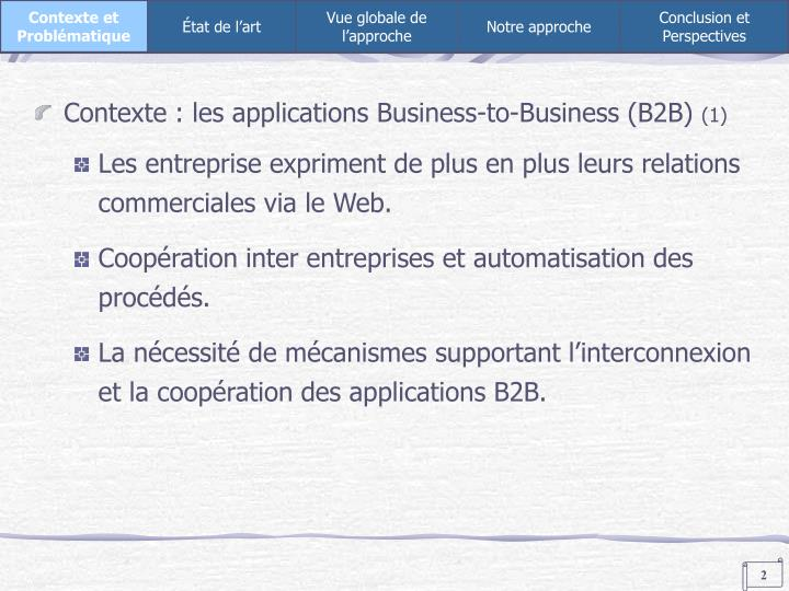 Contexte : les applications Business-to-Business (B2B)