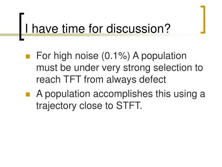 I have time for discussion?