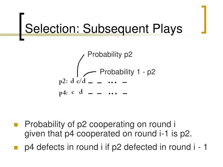 Selection: Subsequent Plays