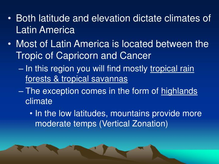 Both latitude and elevation dictate climates of Latin America