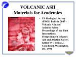 volcanic ash materials for academics