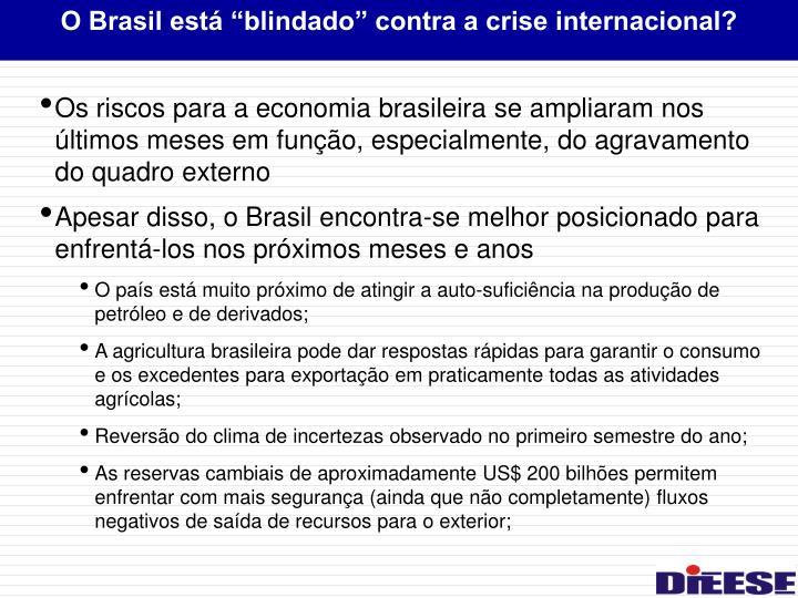"""O Brasil está """"blindado"""" contra a crise internacional?"""