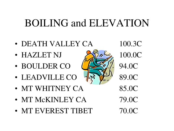 BOILING and ELEVATION