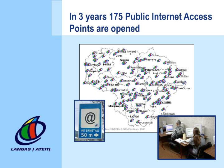 In 3 years 175 Public Internet Access Points are opened