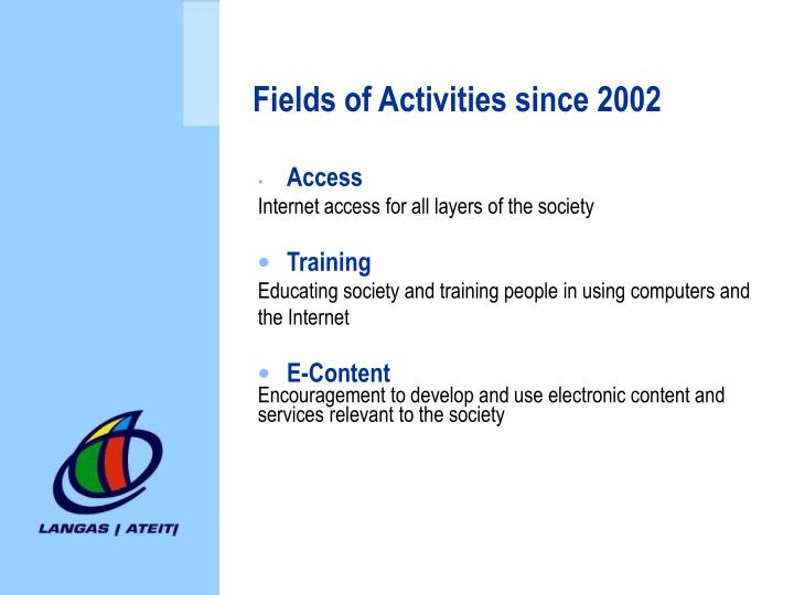 Fields of Activities since 2002
