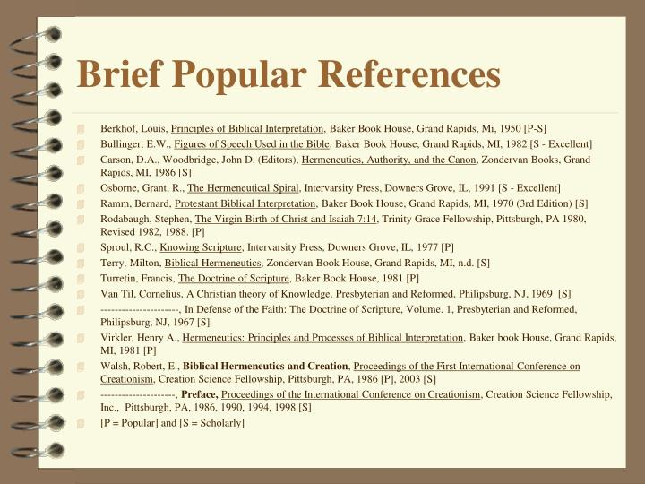 Brief Popular References