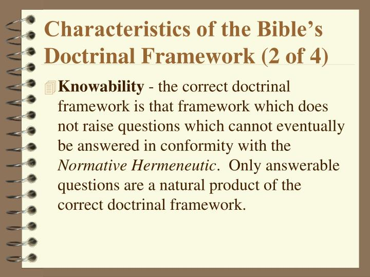Characteristics of the Bible's Doctrinal Framework (2 of 4)