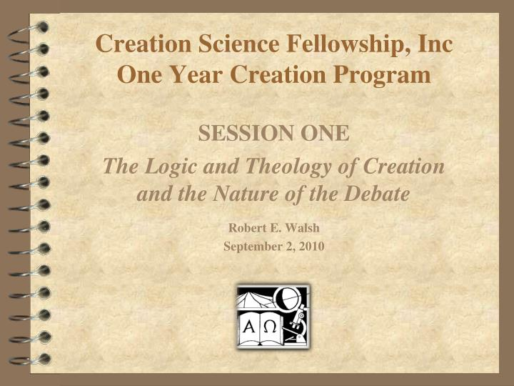 Creation science fellowship inc one year creation program