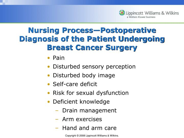 assessing pain in in post operative breast cancer patients In assessing the value of innovations in breast cancer  and with significant post-operative breast problems such  for postlumpectomy breast cancer patients.