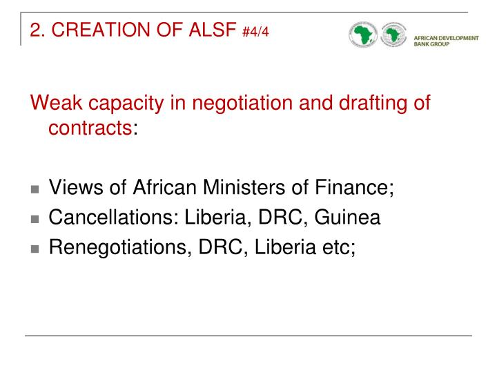 2. CREATION OF ALSF